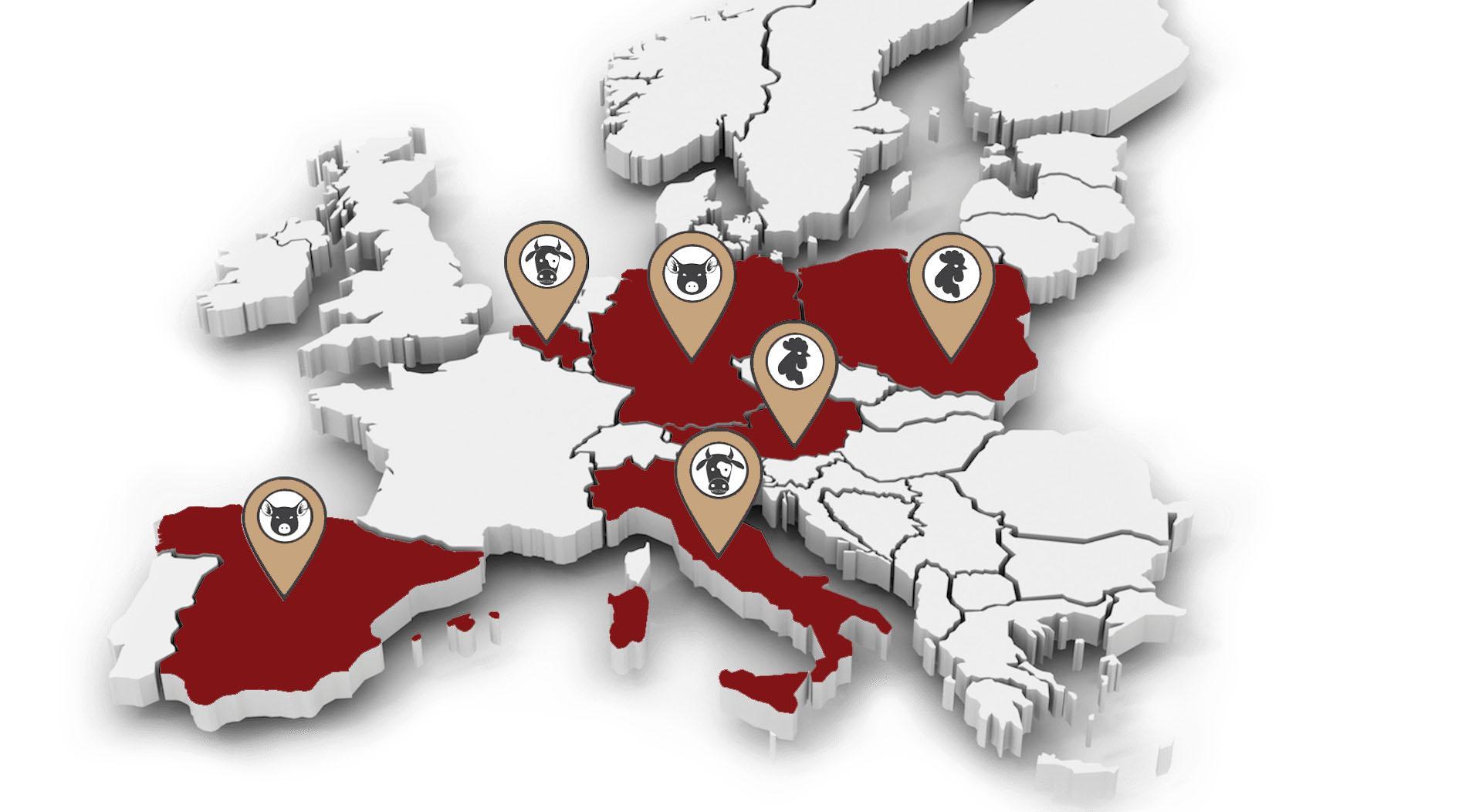 Mapa odberateľov porcovaného mäsa REDIMER s.r.o.